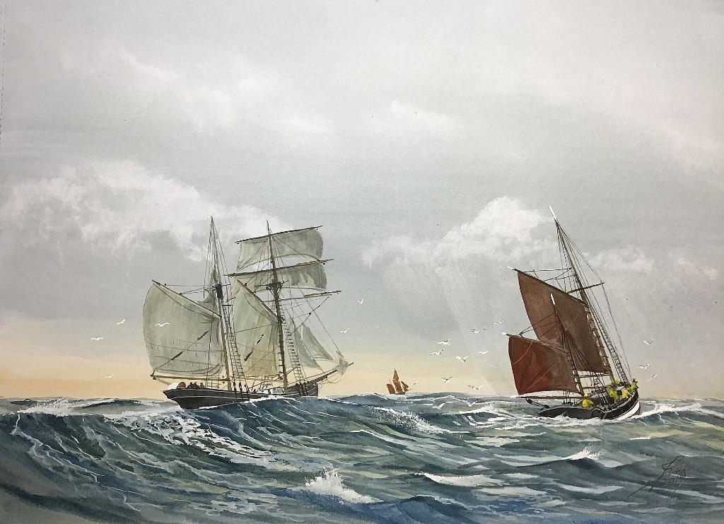 Schooner 'Hope' passes a Sailing Trawler somewhere near the Dogger Bank