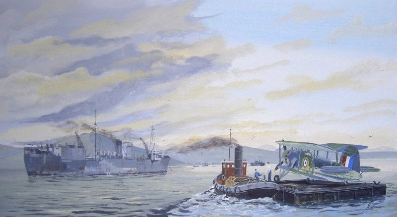 HMS Engadine aircraft transport, loading replacement Swordfish in the Clyde