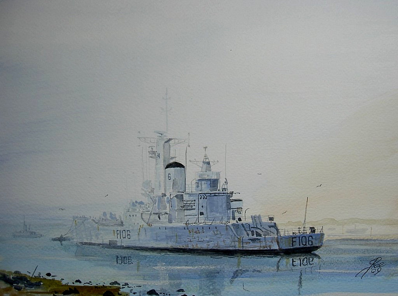 HMS Brighton awaiting disposal. Painted at low tide, didn't like it so painted the tide in.! 89430190_1470051916508436_7994350317422510080_o