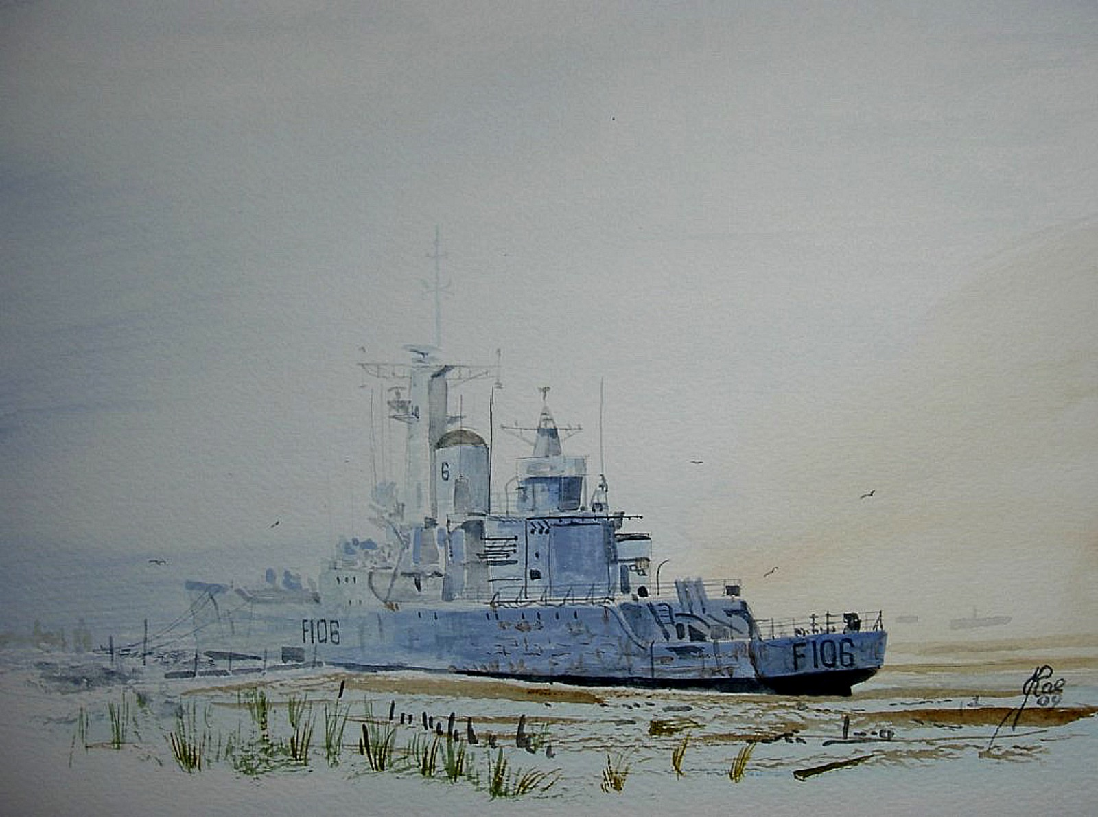 HMS Brighton awaiting disposal. Painted at low tide, didn't like it so painted the tide in.! 89511994_1470051909841770_7010573189096931328_o