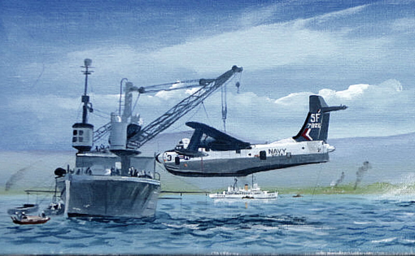 Cam Ranh Bay circ 1967. USS Currytuck CGC Half Moon and LST 1166. Two P5M Marlins, a Sky Crane and a Sea Knight 91914904_1486783301501964_1867827332241162240_o
