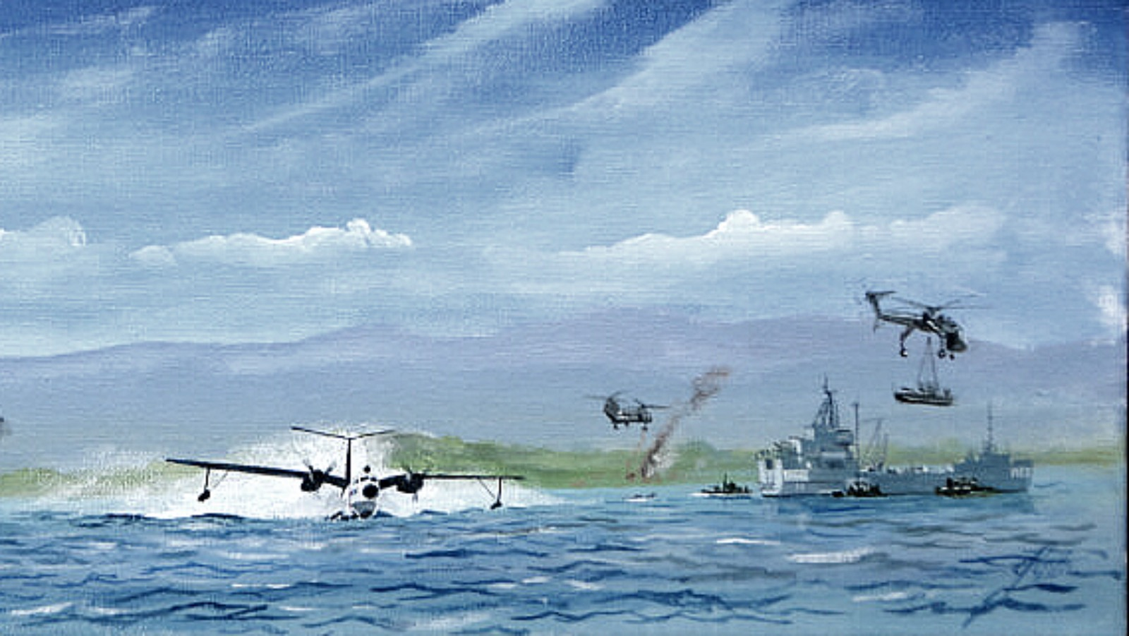 Cam Ranh Bay circ 1967. USS Currytuck CGC Half Moon and LST 1166. Two P5M Marlins, a Sky Crane and a Sea Knight 91521848_1486783281501966_1831204863367708672_o