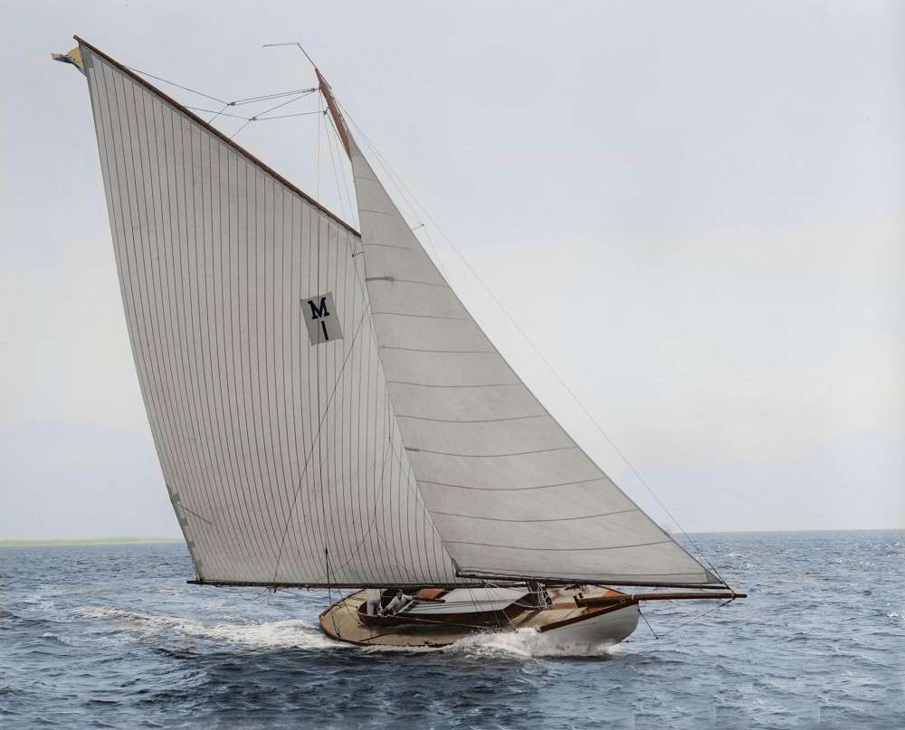 The gaff racing yacht Acushla (II) photographed by John S. Johnston on July 31, 1897