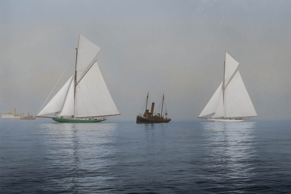 Shamrock and Columbia becalmed in fog at the 1899 America's Cup races in October 1899
