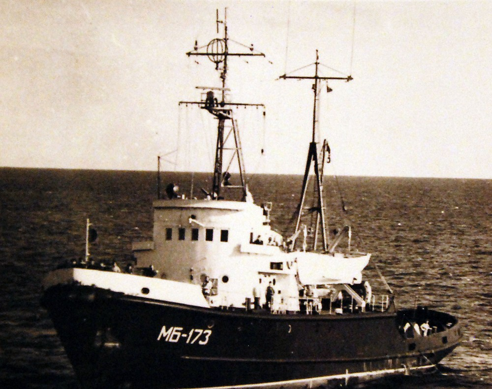 A port side Bow quarter view of the Soviet Okhtensky class oceangoing salvage and rescue tug, MB 173. September 1977