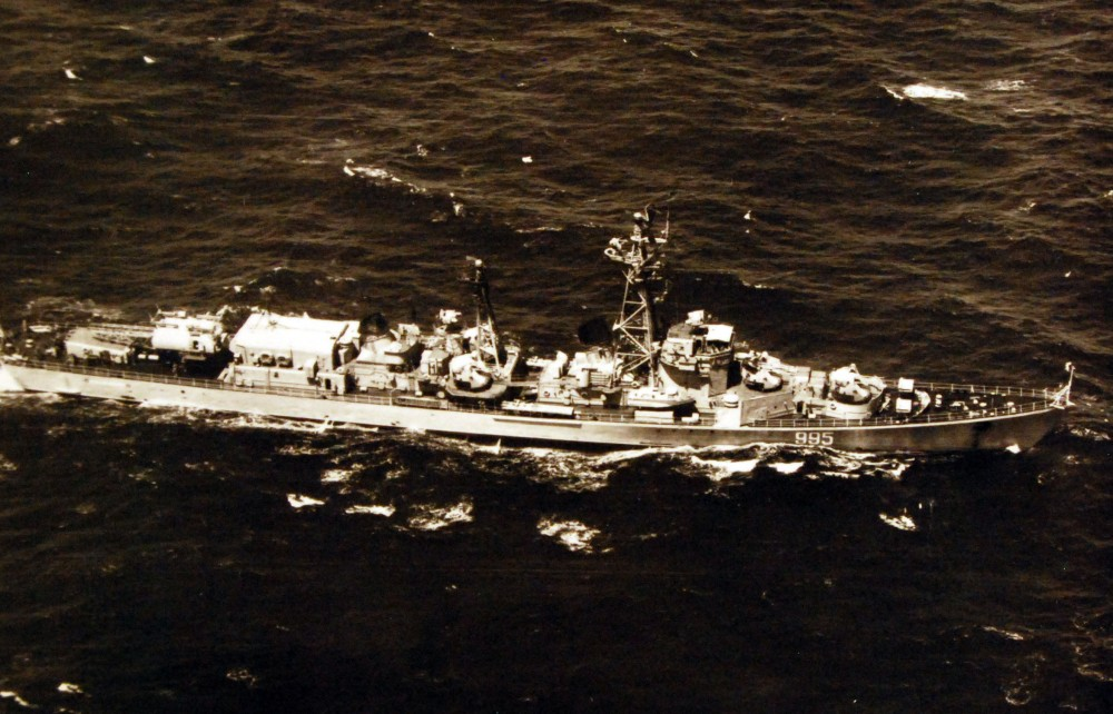 A Soviet Kildin class guided missile destroyer underway. March 1975