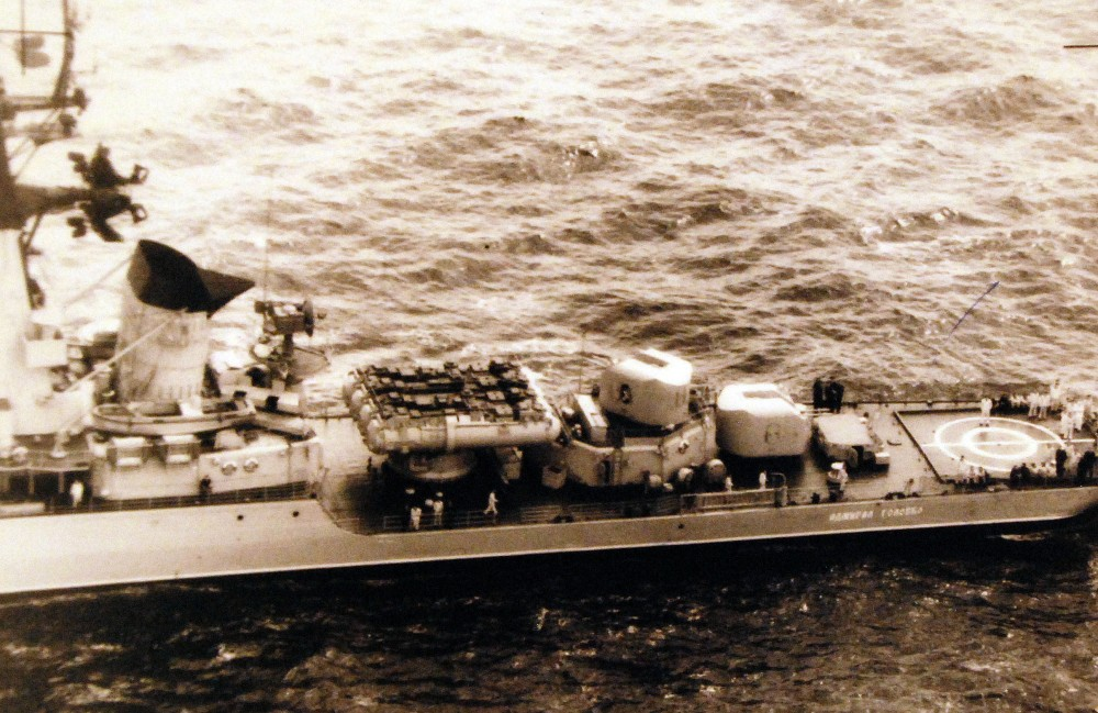 A view of the after section of the Soviet Kynda class guided missile armed destroyer leader (light cruiser) number 851 as she is underway. July 1973