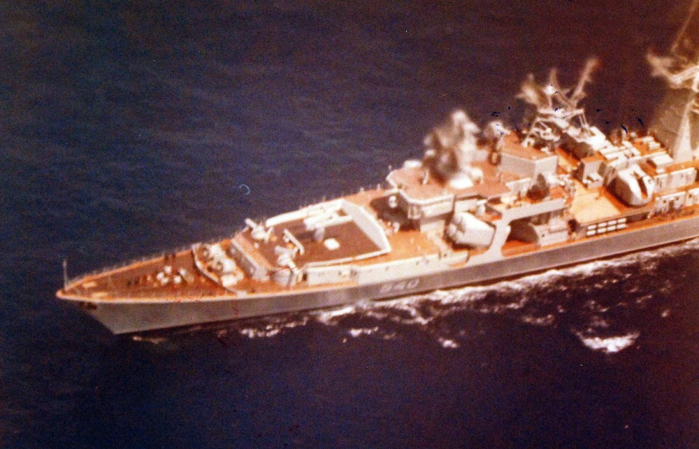 An aerial port view of the forward half of a Soviet Kara class guided missile light cruiser, unknown date.