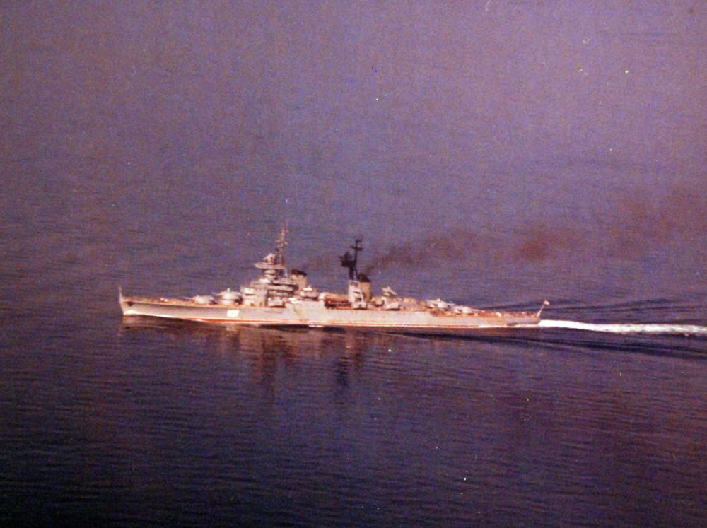 Indian Ocean. The Soviet cruiser Sverdlov. November 28, 1974