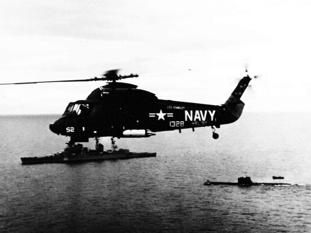 Mediterranean Sea. A SH-2D Seasprite Helicopter (HSL-30) tracks a Soviet Sverdlov class cruiser and a Soviet submarine about sixty miles east of Gibraltar. November 1972