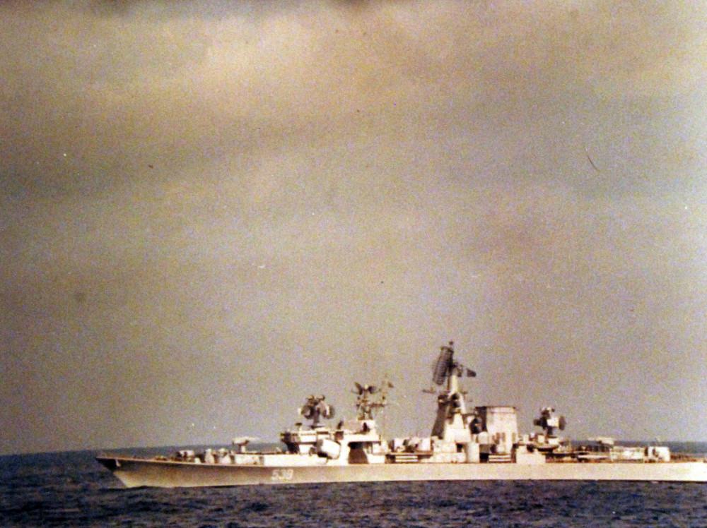Mediterranean Sea. A Soviet Kara class guided missile mixed light cruiser at anchor. March 1973