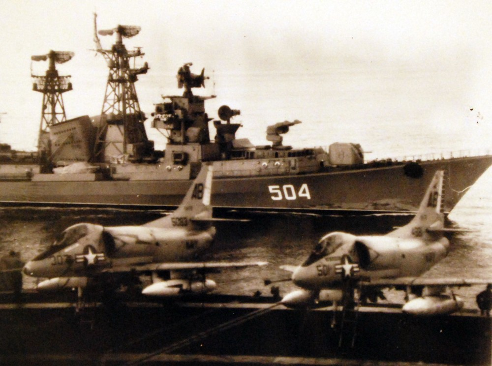Mediterranean Sea. A Soviet Kashin class guided missile destroyer passes alongside the attack aircraft carrier USS Franklin D. Roosevelt (CVA 42), September 1971