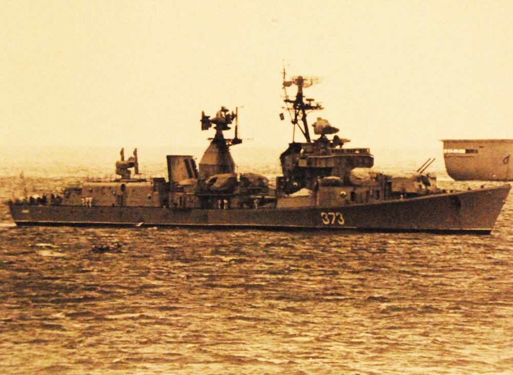 Mediterranean Sea. Soviet Task Force participating in operation Okean 75. A Soviet Sam Kotlin class destroyer (373) April 1975