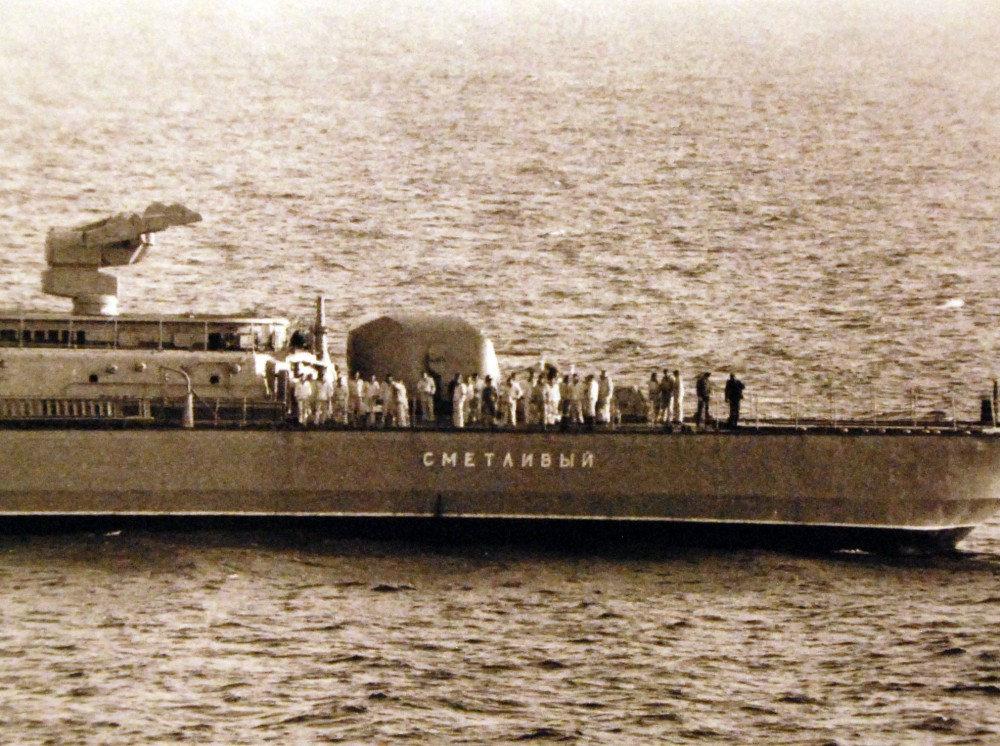 Mediterranean Sea. Soviet Task Force participating in Operation Okean 75. Members of the crew on the Soviet Kashin class destroyer observe the other Soviet and U.S. ships. 1975