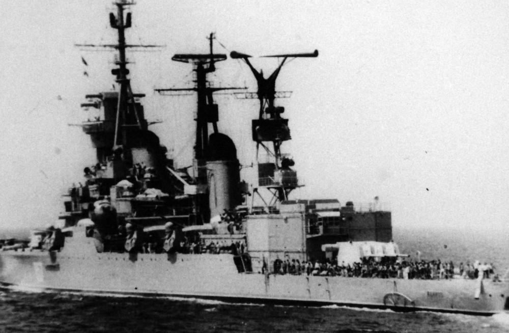 Philippine Sea. A Soviet Sverdlov class cruiser underway. January 1974