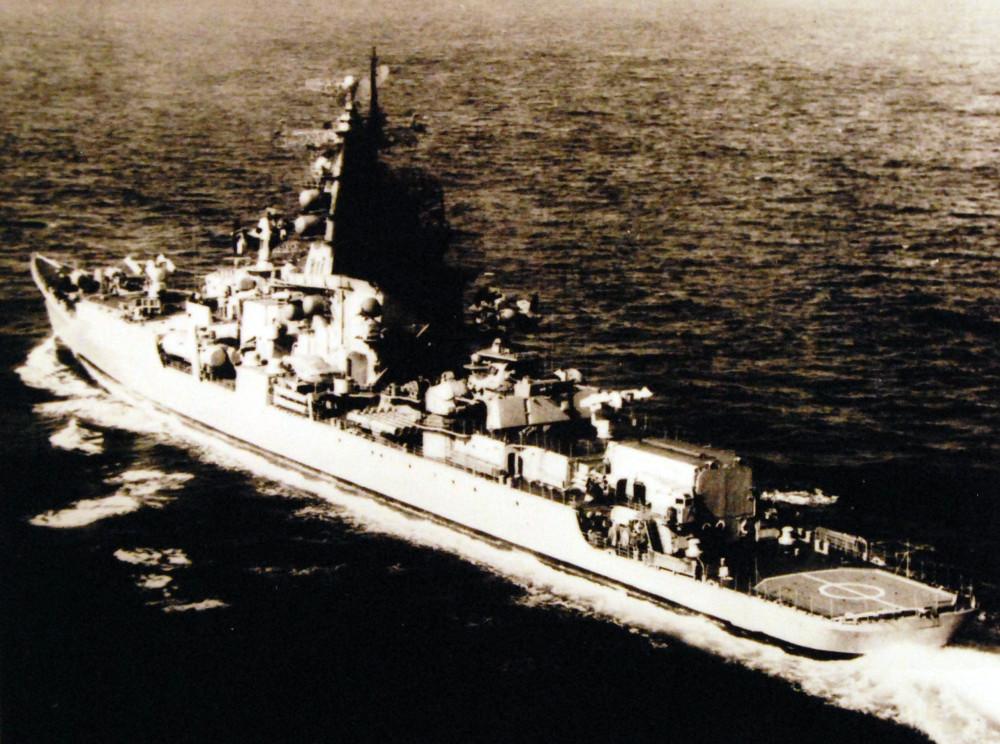 Soviet modernized Kresta I class guided missile cruiser Vice-Admiral Drozd, 1976