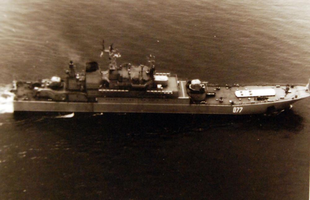 Starboard view of Soviet Ropucha class landing ship. July 9, 1979