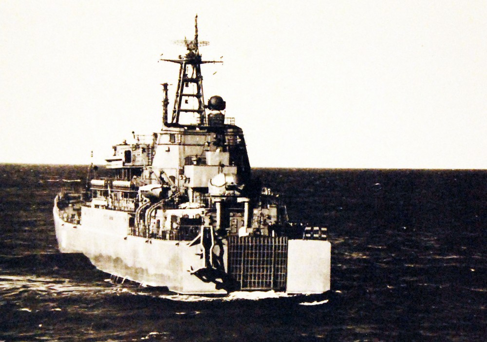 Stern view of Soviet Ropucha class landing ship. September 1977
