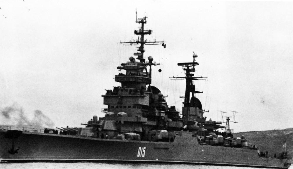 The Soviet Serdlov modernized class cruiser, Oktyabrskaya Revolutsiya. 1977