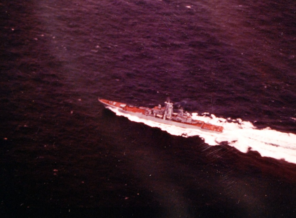 Atlantic Ocean. Aerial port quarter view of a Soviet Kirov class nuclear powered guided missile cruiser underway, 1980