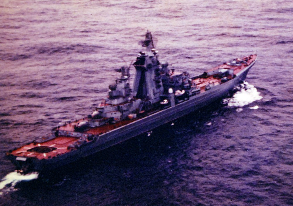 Atlantic Ocean. Aerial starboard quarter view of a Soviet Kirov class nuclear powered guided missile cruiser underway, 1980
