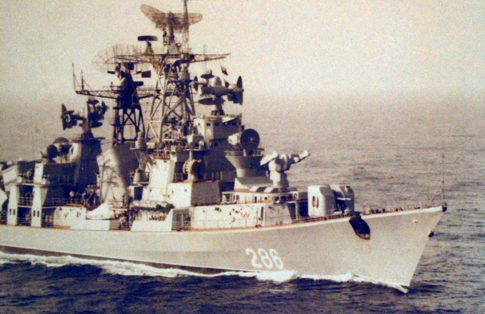 Indian Ocean. A starboard quarter bow view of a Soviet modified Kashin class destroyer underway as seen from USS Nimitz (CVN 68). February 25, 1980