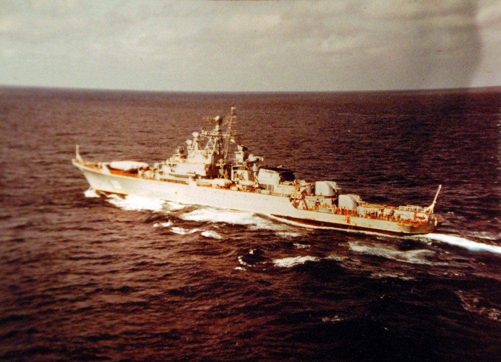 Indian Ocean. Port beam view of a Soviet Krivak Class ship observing the Indian Ocean Battle Group turn-over operations. 7 May 1980.