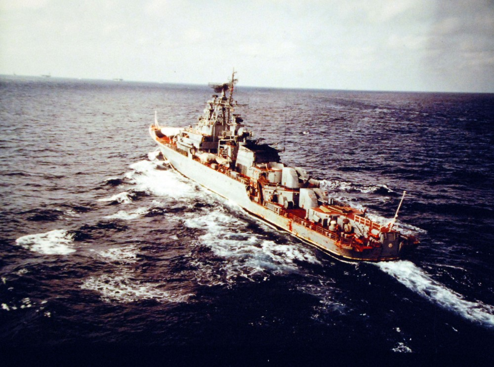 Indian Ocean. Port quarter view of a Soviet Krivak class ship observing the Indian Ocean battle group turn-over operations. May 7, 1980.