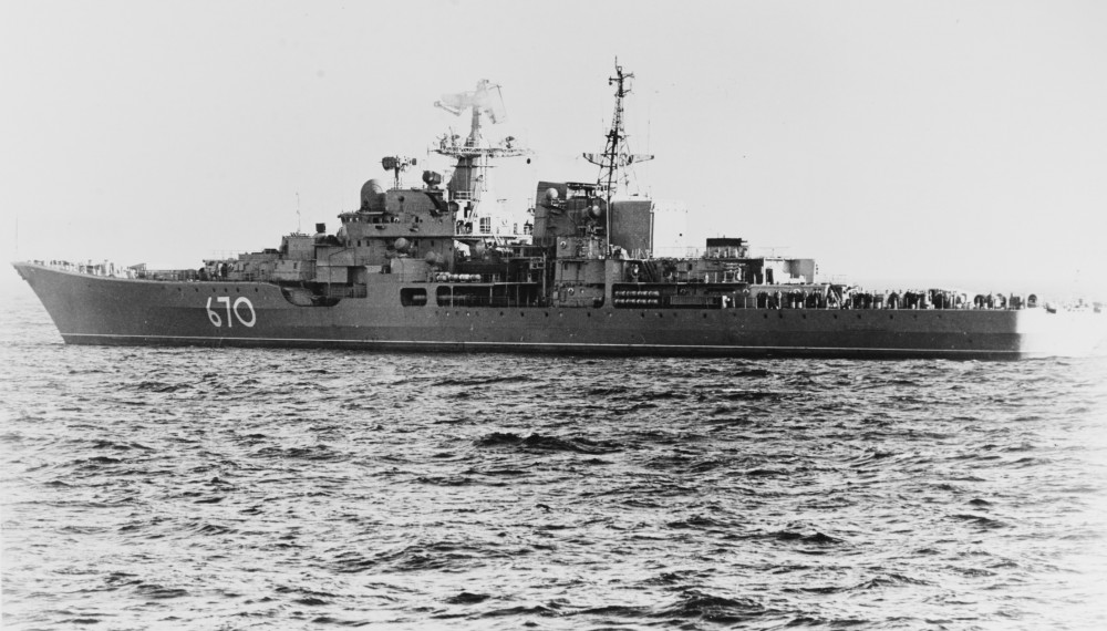 SOVREMENNYY (Soviet DDG) On her sea trials, in the Baltic Sea, circa mid-1980. October 1980