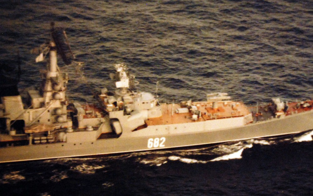 Starboard view of Soviet Kresta II class guided missile cruiser No. 682 underway with USSR Naval Task Group in the Norwegian Sea, April 1980. Photographed June 20, 1980