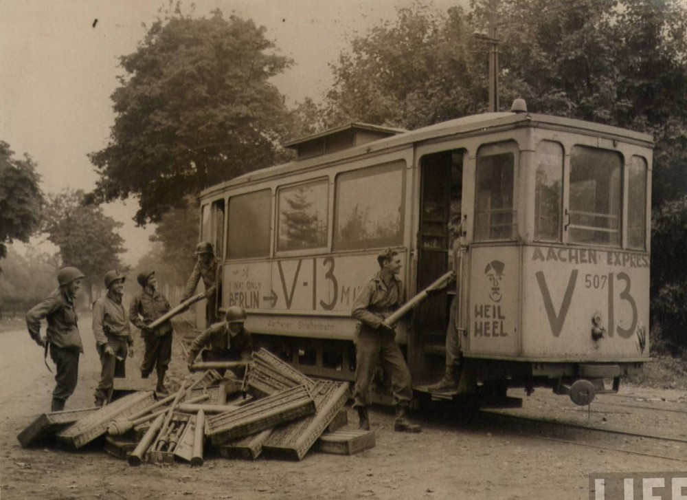 The explosive laden streetcar allowed to run at the German positions during the fighting for Aachen in 1944