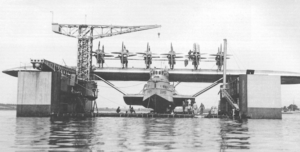 Dornier Do-X. This is probably the drydock at Lisbon, where she caught fire and had to undergo extensive repairs in November-December, 1930