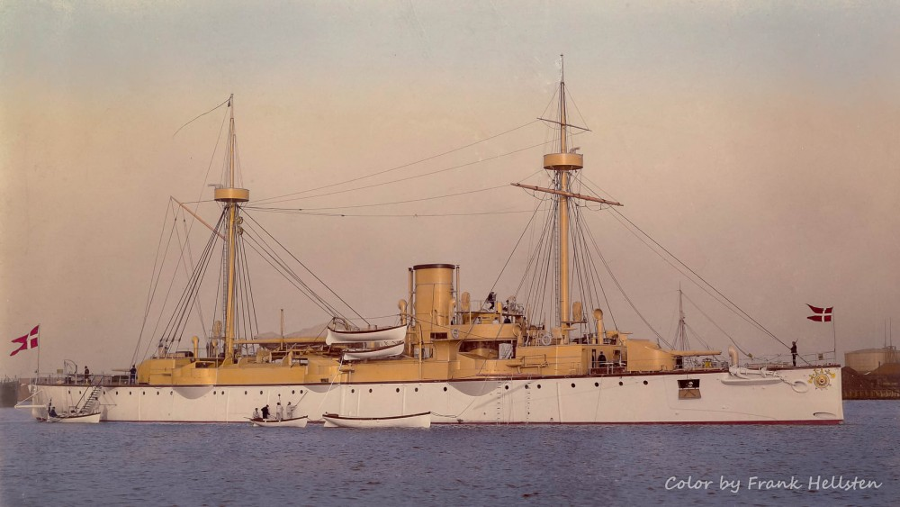 The Royal Danish Navy cruiser Valkyrien getting ready for a voyage to the Far East in 1899