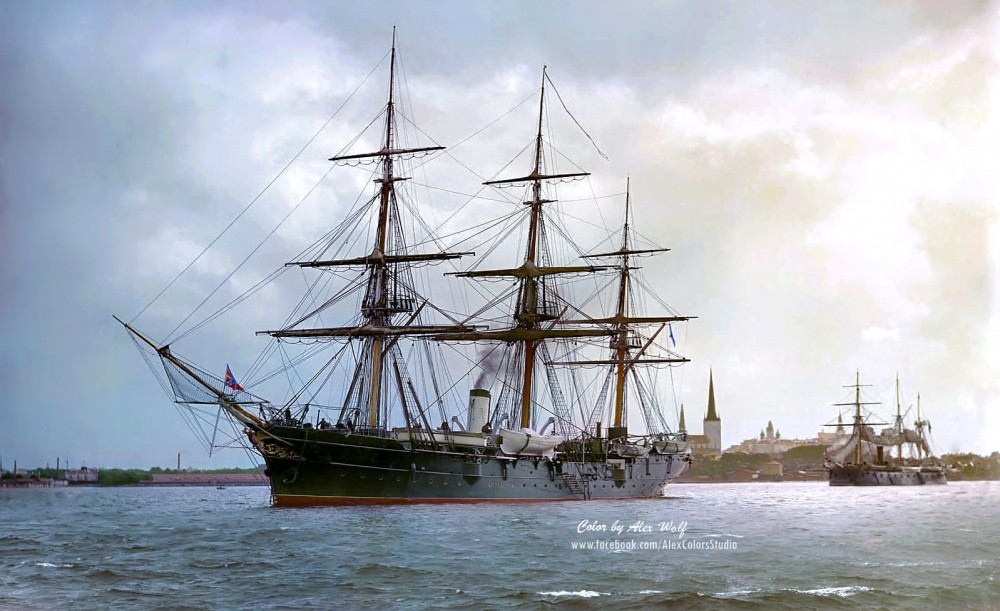 Training sail-screw ship Verny on the roadstead of Revel (Tallinn), Russian imperial Navy