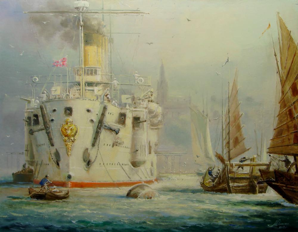 Старый Владивосток. Крейсер 'Громобой' на рейде. Картон, масло, 33х26, 2020. Автор Анискин Ю.А.
