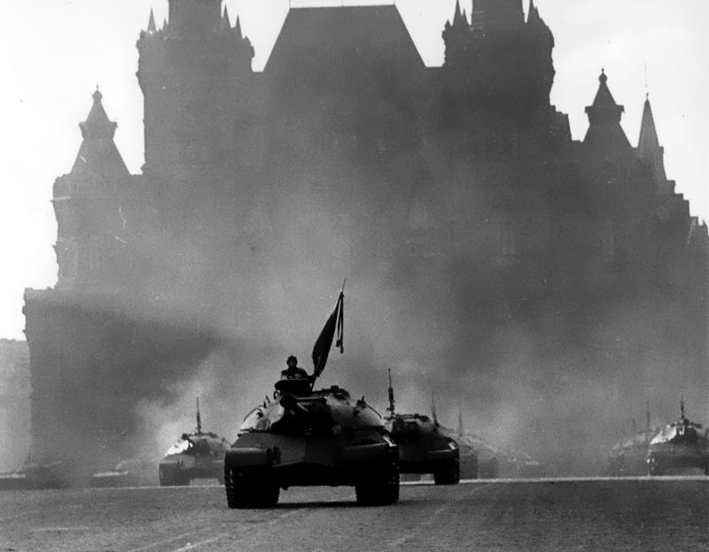 Soviet IS-3 tanks on parade, presumably late 1940s