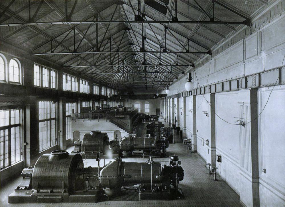 Городские железные дороги Москвы. Центральная электрическая станция. Машинное отделение. 1911-1913