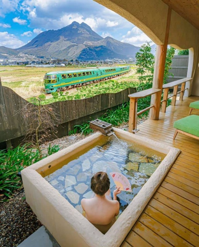 Best bath in the world - With view to Yufuinnomori express