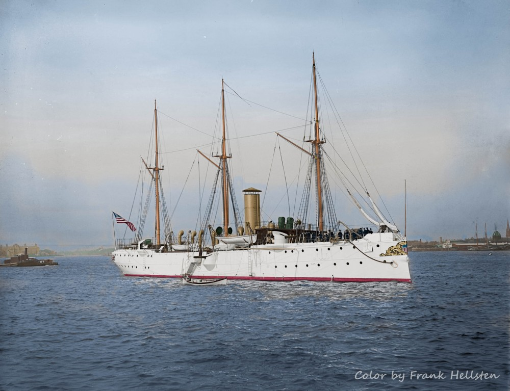 US Navy gunboat USS Concord photographed off Long Island in 1890 - 1901 by Edward H. Hart