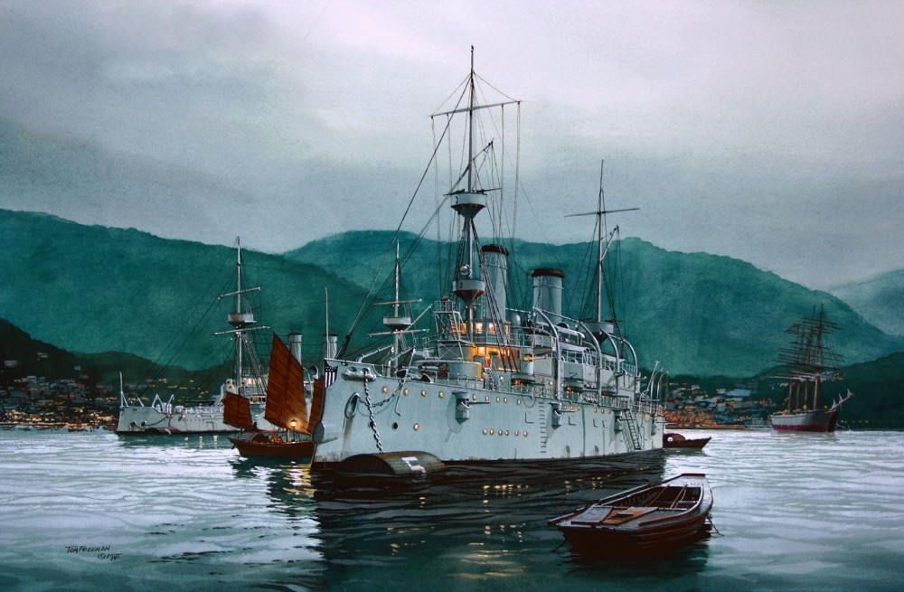 TOM FREEMAN (1952-2015, American) «Quiet Before the Storm - U.S.S. Olympia in Hong Kong before the battle of Manila Bay, May 1, 1898.», date unk.