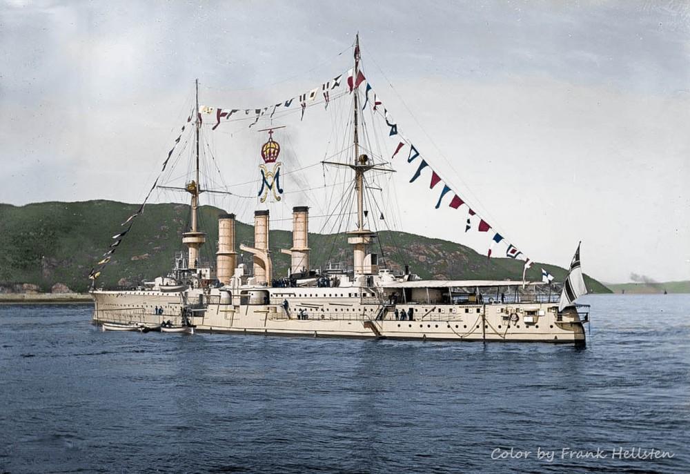 The German Imperial Navy armored cruiser SMS Adalbert in Norway in 1906