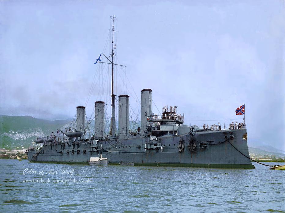 Броненосный крейсеръ «Адмиралъ Макаровъ», Тулонъ, май 1908 года