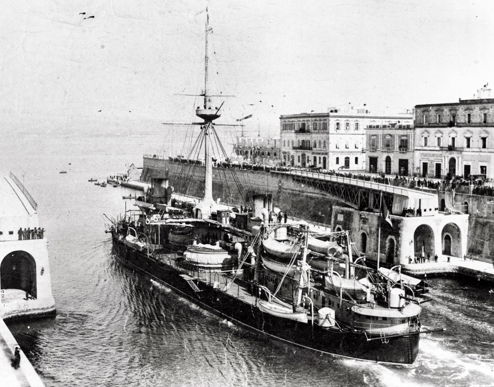 Italian battleship Dandolo passing through the Taranto swing bridge