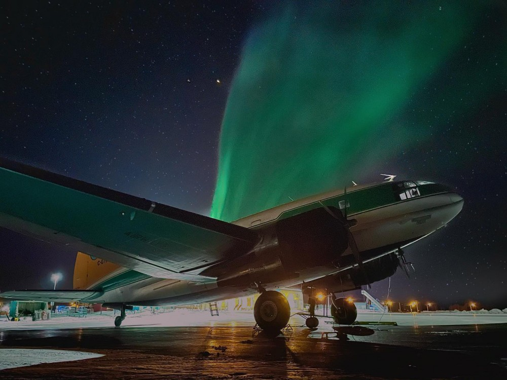 Aurora 46. Another great shot by @c46fdriver! — Hay River - Merlyn Carter Airport