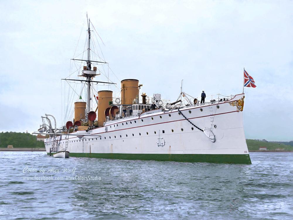 Крейсеръ II ранга «Новикъ» на рейдѣ Бреста, 1902 годъ