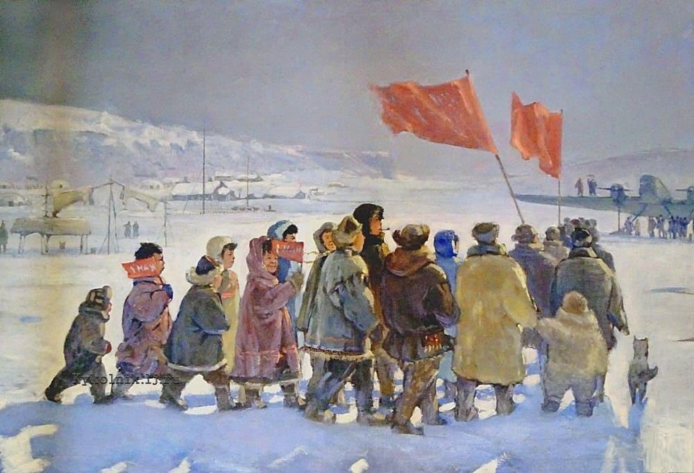 Решетников Федор Павлович (1906-1988) «Празднование 1 мая на Севере» 1930-е