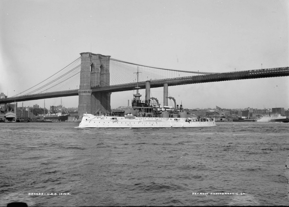 Iowa (BB-4) sailing under the Brooklyn Bridge, 1897-1901.