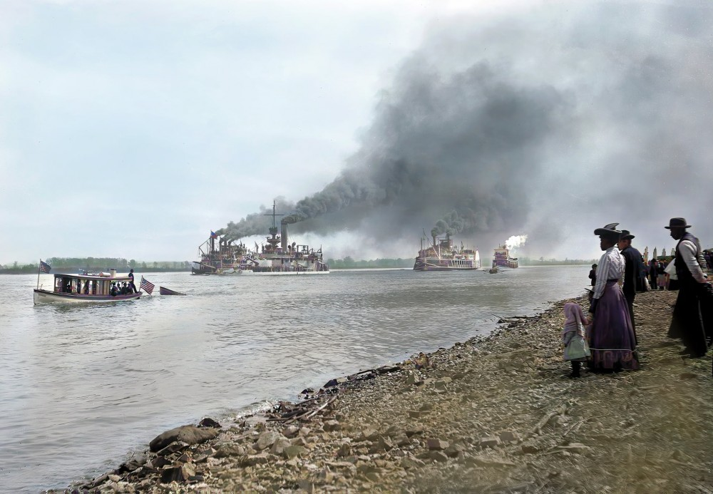 [April 1903] photo showing steamboats on the Mississippi River, including the monitor USS Arkansas (BM-7), at St. Louis, Missouri. Restoration and colorization by LongView HD