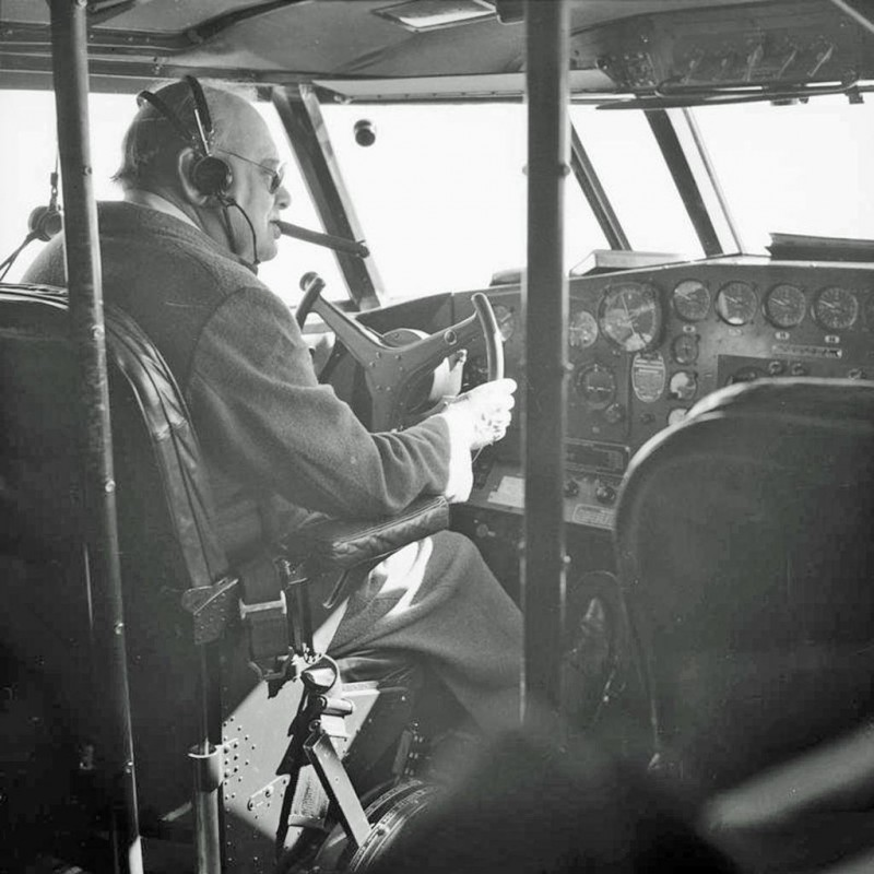 16 January 1942. British PM Winston Churchill takes the controls of a BOAC Boeing 314 Clipper flying boat en route from Virginia to Bermuda