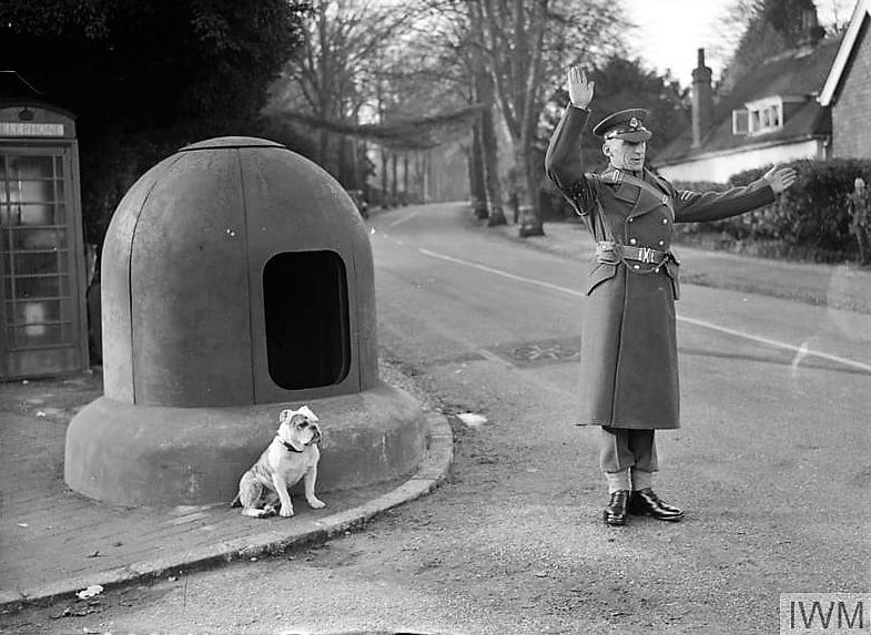Member of the Corps of Military Police accompanied by his Bulldog on traffic control duty at a crossroads in Southern England, November 1940